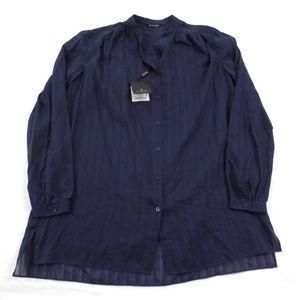 NEW Massimo Dutti Sheer Navy Blue Blouse 6
